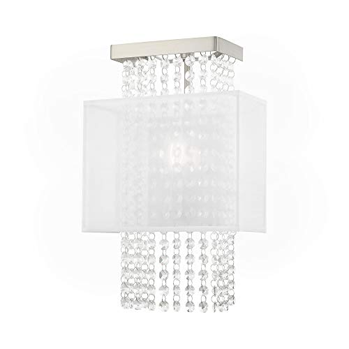 Livex Lighting 41128-91 Bella Vista - One Light ADA Wall Sconce, Brushed Nickel Finish with Translucent Fabric Shade with Clear Crystal