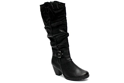 Marco Tozzi F10395A - Damen Stiefel - Absatz & Schnalle - Kniehoch - Schwarz - UK8 EU41