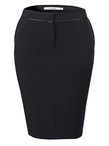 MixMatchy Women's Solid High Waist Zip Up Front Pencil Skirt Black M (Black Pencil Skirt Pockets)