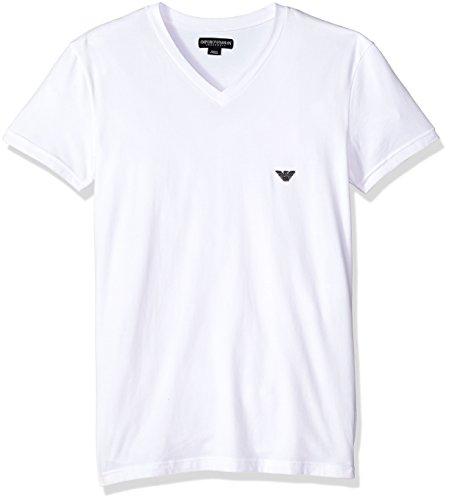 Emporio Armani Men's Metal Logo Band Vneck T-Shirt, White, L - Emporio Armani T-shirt Top