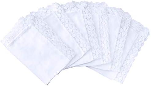 in puro cotone con pizzo HOULIFE 6 fazzoletti da donna piccoli 25 x 25 cm per uso quotidiano e matrimonio bianchi