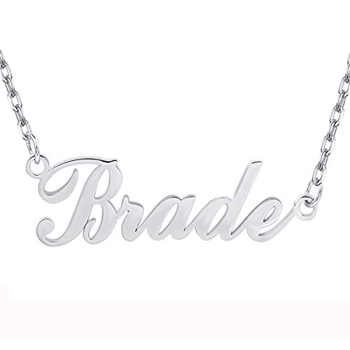 Yoke Style Custom Name Necklace Personalized, Sterling Silver Customized Charm Necklace Jewelry Gift for ()