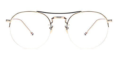Slocyclub Unisex Semi-Rimless Round Metal Frame Double Bridge - Bridge Double Eyeglasses