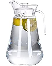 68oz Acrylic Pitcher with lid, 2L Clear Plastic Pitcher for Water, Coffee, Tea, BPA-Free and Shatter-Proof