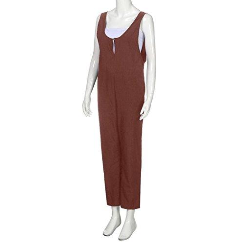 Pantalon Femmes Lache Jumpsuit Solide Pantalon Long Brun sans Combishort Coton Manches Dungarees zahuihuiM PwqAaYdxSY
