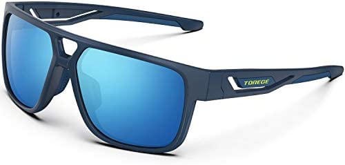 TOREGE Polarized Sports Sunglasses for Man Women Cycling Running Fishing Golf TR90 Fashion Frame TR14 lron Bone