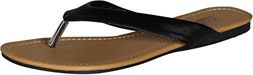 Kali Footwear Womens Cocoa Flat Thong Sandals, Black 8