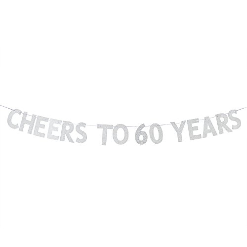 Cheers to 60 Years Banner - Happy 60th Birthday Party Bunting Sign - 60th Wedding Anniversary Decorations Supplies - Silver