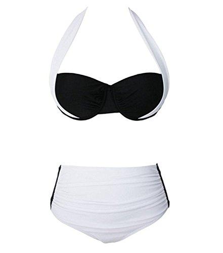 Mujeres Verano Acolchado Cintura Alta Push Up Bikini Traje De Baño Beachwear Talla Alta Negro y Blanco