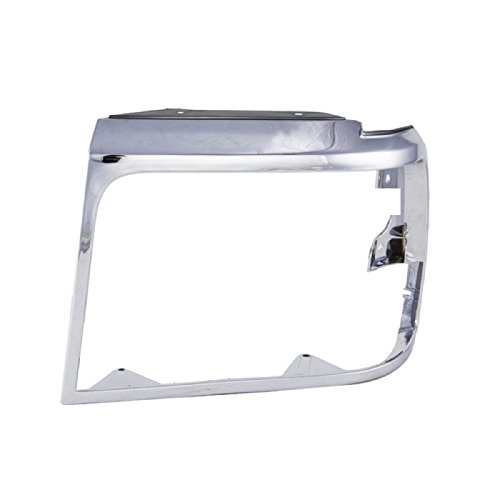 CarPartsDepot 1992-1996 FORD F//S BRONCO F150 HEADLAMP DOOR HEAD LIGHT BEZEL CHROME FRAME LEFT
