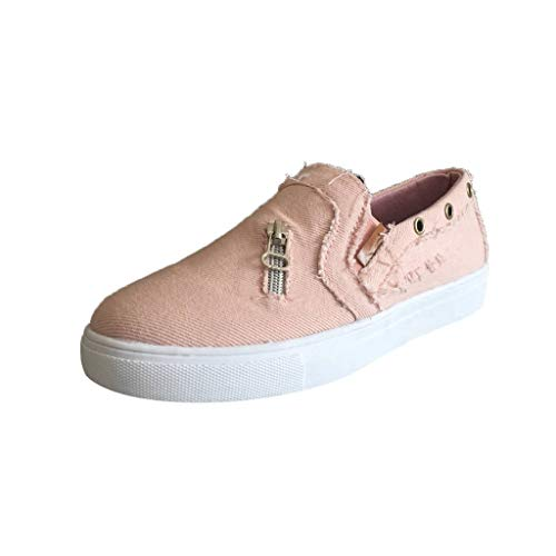 Bravetoshop Women's Breathable Student Sneakers Lace-Up Thick Soled Flats Casual White Shoes(Pink,38)