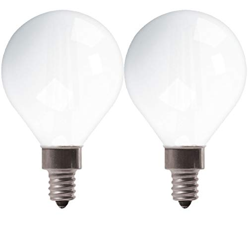 GE Lighting 25923 Frosted Finish Light Bulb Dimmable LED Daylight Decorative G16.5 Globe 5.5 (60-Watt Replacement), 500-Lumen Candelabra Base, 2-Pack, White, 2 Piece