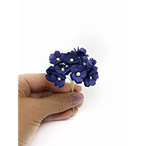 1.5cm Navy Blue Mulberry Paper Flowers, Navy Paper Hydrangea, Wedding Flowers, Wedding Decor, Wedding Table Flowers, Navy Blue Wedding, Artificial Flowers, 50 Pieces 3