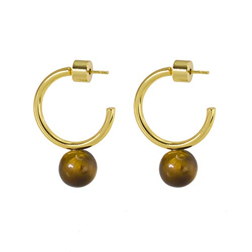 925 Sterling Silver Post Floating Tiger Eye Stone Hoop Earring 14K Real Gold Plated Open Cuff C Loop Post Studs Dangle Minimalist Earring Gifts for Her Women Ladies (Small C Shape Gold & Tiger Eye)