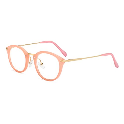 ROYAL GIRL Small Round Circle Glasses Women Metal Frame Clear Lens Classic Vintage Eyeglasses (Pink Frame, - Frames Kids Eye Glass For