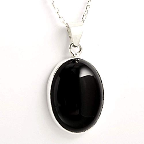 Sterling Silver Natural Black Onyx Gemstone Handmade Oval Pendant Necklace 16+2'' Chain