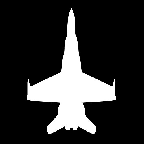 Auto Vynamics - MILITARY-PLANECHOPPER03-3-MWHI - Matte White Vinyl Military Plane / Helicopter Silhouette Decal - Fighter Jet Top Down View 01 Design - 2.125-by-3-inches - (1) Piece Kit - Single Decal