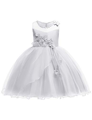 JOYMOM Party Dresses for Girls, 2018 Juniors Formal Casual Outfits Toddler Kids Sleeveless Ruffle Lace Evening Wedding Dress for Tea Party White Size (140) 7-8 Years by JOYMOM