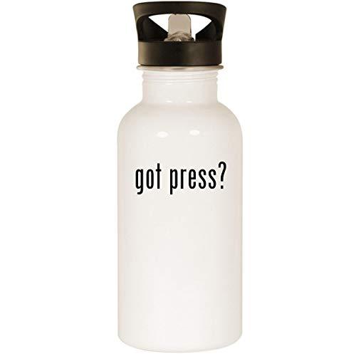 got press? - Stainless Steel 20oz Road Ready Water Bottle, White