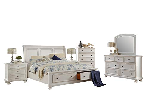 Cal King Sleigh Bedroom Set - Liverpool Cottage 6PC Bedroom Set Cal King Sleigh Storage Bed, Dresser, Mirror, 2 Nightstand, Chest in White
