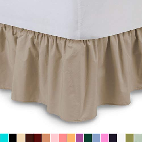 (Waletone Linen Ruffled Bedskirt (Twin XL, Camel) 18 Inch Bed Skirt with Platform, Wrinkle and Fade Resistant (Available in All Bed Sizes and 16 Colors))