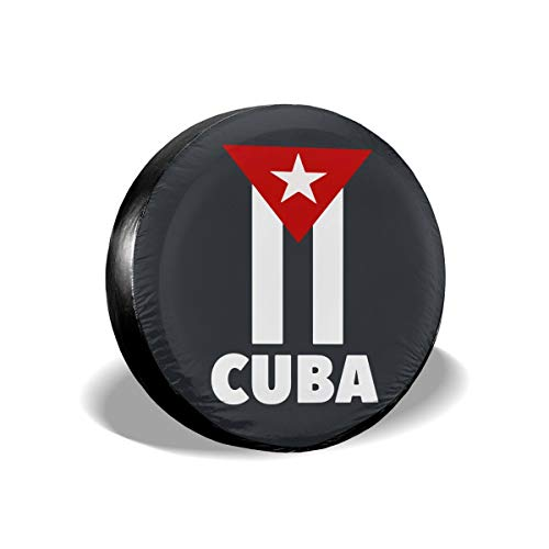 J122 Cuban Flag Spare Wheel Tire Cover Waterproof Dust-Proof Wheel Covers for All Cars (14,15,16,17 Inch)
