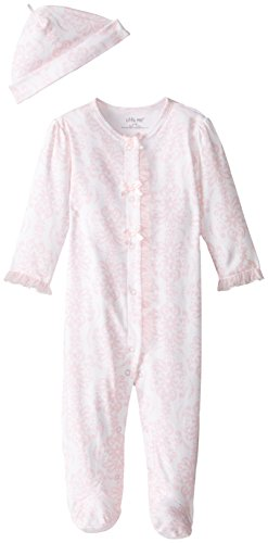 Little Me Baby-Girls Newborn Damask Scroll Footie and Hat, Pink/Multi, 6 Months by Little Me