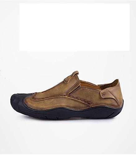 Qiusa   Herren Casual Outdoor Schuhe Rutschfeste weiche Sohle Beleg auf Rutschfeste Schuhe schwarz braun Khaki Loafers (Farbe : Braun, Größe : EU 43) Braun b717fb
