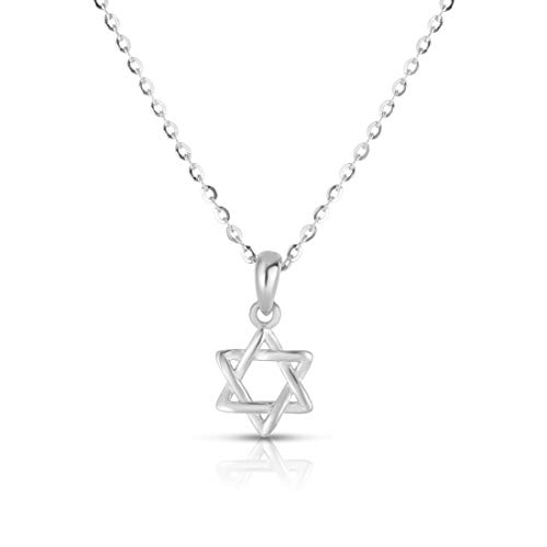 Unique Royal Jewelry 925 Sterling Silver Star of David Jewish Kabbalah Necklace Continuous Adjustable Length 16