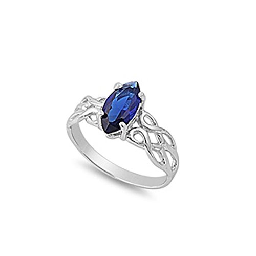 Blue Apple Co. Solitaire Celtic Design Twisted Knot Ring Marquise Cut Simulated Sapphire 925 Sterling Silver
