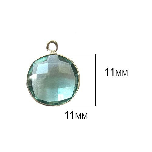(4 Pcs Aquamarine Coin Beads 11mm Silver by BESTINBEADS, Aquamarine Hydro Quartz Coin Pendant Bezel Gemstone Connectors Over 925 Sterling Silver Bezel Jewelry Making Supplies)