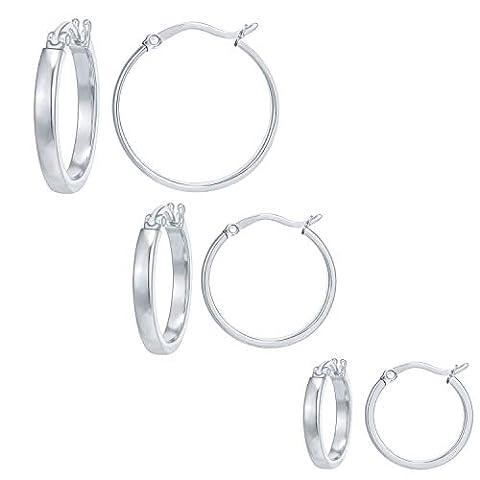 3 Pairs Stainless Steel Fashion Hoop Earrings Set   Big - Sale: $6.79 USD (48% off)