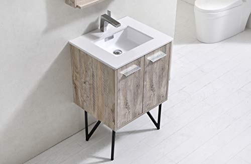 Bosco 24″ Modern Bathroom Vanity w/Quartz Countertop and Matching Mirror -  - bathroom-vanities, bathroom-fixtures-hardware, bathroom - 31a6n9WphPL -