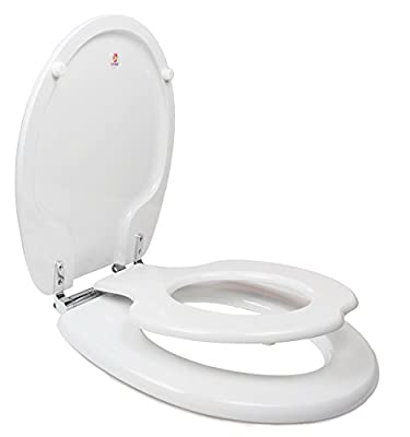 Topseat Tiny-Hiney Potty Round Toilet Seat, Adult/Child with Slow Close Chromed Metal Hinges, Wood, White