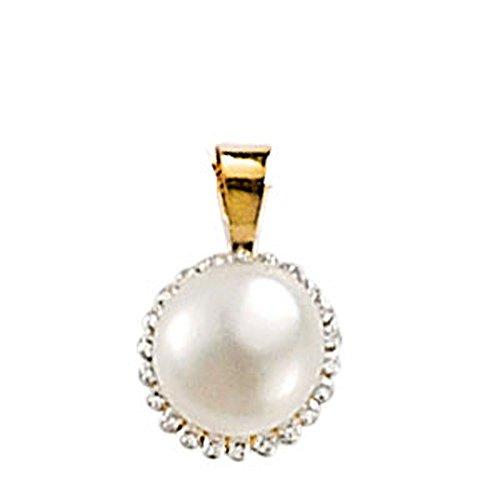 SF Bijoux - Pendentif or jaune 750/1000e, perle d'eau douce et diamant (0,005 carat) - Blanc