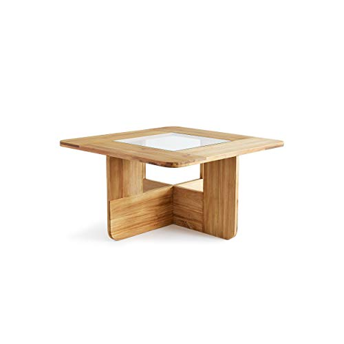 Design Ideas Lyndon Coffee Table, Slot Together Solid Teak Accent Furniture with Glass Inset (Lyndon Furniture)