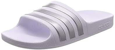 adidas Australia Boys' Adilette Aqua Slides, Footwear White/Silver Metallic, 1 US