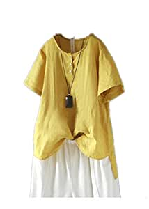 TT WARE Women Short Sleeve O-Neck Button Irregular Vintage Blouse-Yellow-18