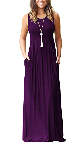 (AUSELILY Women's Summer Sleeveless Loose Plain Maxi Dress Casual Long Dress with Pockets (M, Purple))