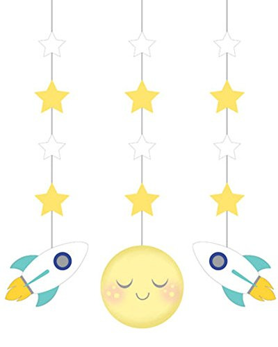 Dangling Cut Out Decorations (Moon and Stars Baby Shower Dangling Cutouts (3 ct))