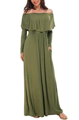 Cowl Off Shoulder - Zattcas Women Cowl Neck and Over The Shoulder Maternity Dress Photography Dress (Small,Army Green)