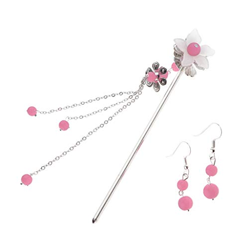 Hair Stick Chopstick Bun Holder Metal Hairpin Earring Ancient Chinese Style (Color - Pink)