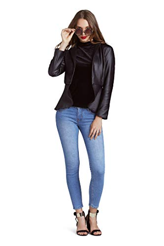 Blackbird Women's Jacket Women's Jacket Women's Black Faux Leather Long Sleeve Jacket (XS)