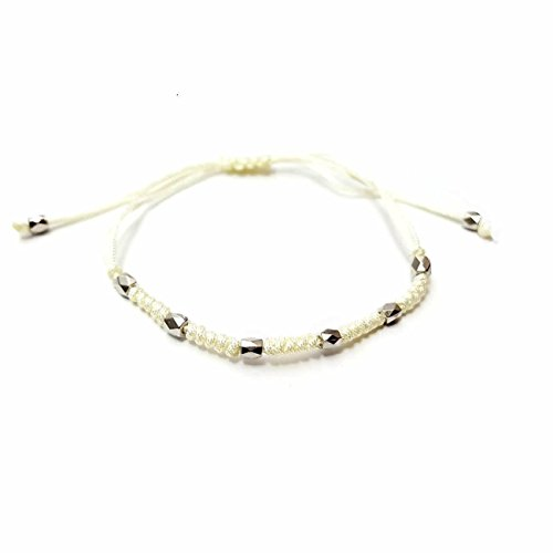eaaeaa9d1b0e1 Off White Cream Woven Braided Thread Silver Beaded Macrame Friendship  Bracelet