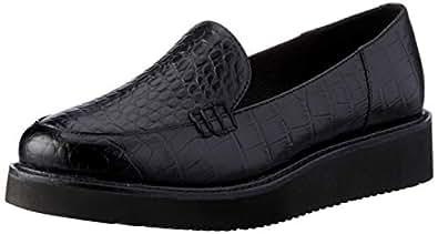 Jane Debster Vista Women's Platform Loafer, Black Croc Print, 10 AU