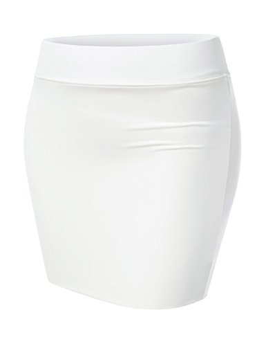 Lycra Pleated Mini Skirt - NEARKIN (NKNKW3S Beloved Womens Waistband Double Elastic Layered Mini Skirt White US S(Tag Size M)