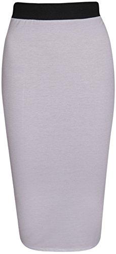 Femmes Crayon Extensible Tube Wiggle Femmes Contraste Ceinture lastique Compatible Avec Moulant Uni Office Jupe Midi Blanc