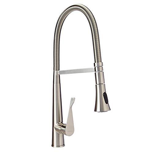 AmazonBasics Pro-Style Flexible Sprayer Kitchen Faucet - Satin Nickel - Faucet Lavatory Kitchen