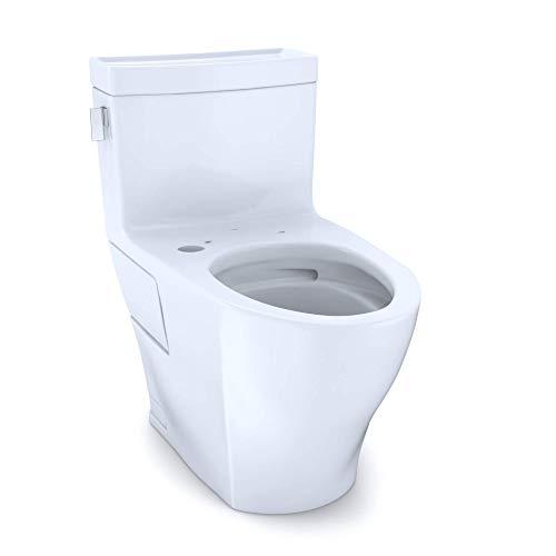 TOTO CST624CEFGT40#01 Legato WASHLET+ One-Piece Elongated 1.28 GPF Universal Height Skirted Toilet, 28.4 x 17.3 x 27.9, Cotton White