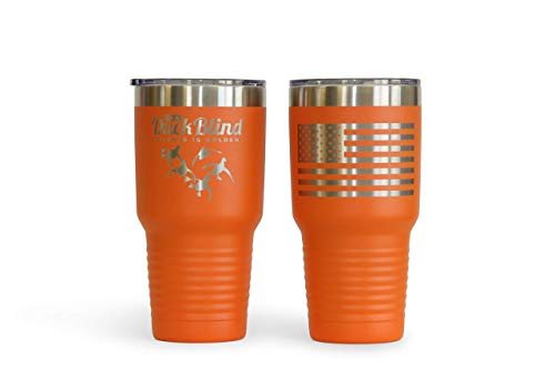 Thomas And Son Designs Waterfowl Hunting Gift 30 oz Stainless Steel Double Wall Insulated Double Engraved Tumbler Silence Orange